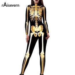 $enCountryForm.capitalKeyWord Australia - Raisevern Sexy Women Bodysuit Black Golden Skull Skeleton Printed Jumpsuits One Piece Body Suits Dropship