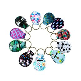 China Coin Holder Chapstick Holder Neoprene Keychain, Unicorn Pattern Lip Palm Holder Floral Print with Metal Ring supplier unicorn lip suppliers