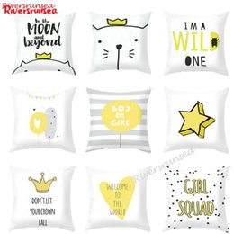 cat cushion for kids Australia - Minimalist Decor Yellow And Grey Geometric Cushion Lovely Crown Cat Elephant English Car Pillow For Home Kids Room Decoration