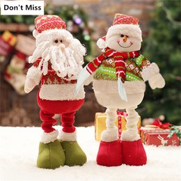 ornaments figure home NZ - Christmas Decoration for Home Adjustable Leg Standing Figures Santa Claus Snowman Doll Xmas Birthday Kids Gift Party Ornaments