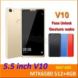 "$enCountryForm.capitalKeyWord Australia - 5.5"" V10 Quad Core MTK6580 Android 8.1 Smart phone 512+4GB Dual SIM camera 5MP 480*960 3G WCDMA Unlocked Mobile Gesture Face Unlock cheapest"
