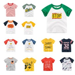designer kids summer clothing NZ - Fashions Kids Designer Clothes Tees Summer Cotton Children Cartoon Car Unicorn Shark Girls Short Sleeve Contrasted Striped Baby Boys Tees