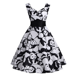 $enCountryForm.capitalKeyWord UK - Stylish Jewelry Summer Beach Kend Dresses For Women Vintage Panda Printed Sleeveless Strappy A-Line Swing Camis Dress Dropship