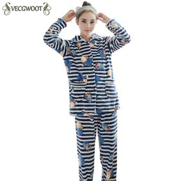 Sets Velvet NZ - Coral Velvet Pajamas Women Winter Long-sleeved Thick Warm Fashion Female Pajama Sets Sweet Cute Flannel Home Service Suits PR473