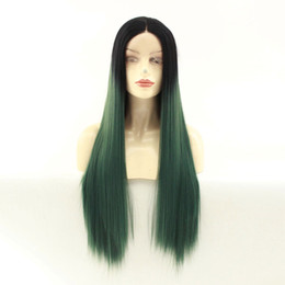 long dark green wigs UK - Long Silky Straight Hair Lace Wig Dark Green Ombre Color Synthetic Hair Wig For Women Party Wig Straight Lace Front Heat Resistant