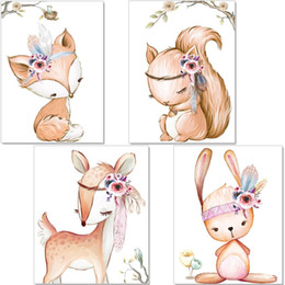 pictures gifts Australia - 4pcs Animal Poster Kids Room Girl Wall Pictures Deer Fox Rabbit Baby Canvas Painting Baby Shower Gifts Unframed