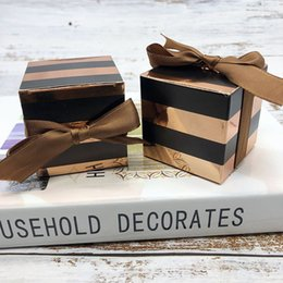 $enCountryForm.capitalKeyWord Australia - 50pcs lot Rose Gold Striped Gift Box Packaging Square Cardboard Box Cake for Wedding Birthday Party Home decorations