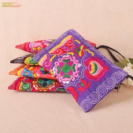 nice makeup bags Canada - Hot Phone Carrybag!Nice Embroidery Purse Phone Makeup Bags Canvas Embroidery Double Sided Small Mobile Key Handbag Holder