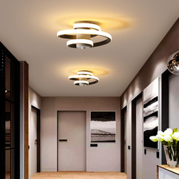 cool ceiling lights for home NZ - Metal Modern Ceiling Lamp For Home Led Lustre Modern Ceiling Light Led Bedroom Corridor Light Balcony Lights White&Black 18W RW203