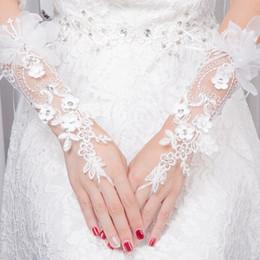 $enCountryForm.capitalKeyWord Australia - Rhinestone Lace Floral Fingerless Wrist Gloves Hollow Out Flower Embroidery Wedding Bridal Women Accessories Elegant White Glove D19011502