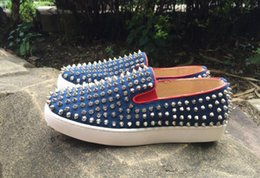 $enCountryForm.capitalKeyWord Australia - Low Top blue canvas Spikes Casual Flats Red Bottom Shoes 2017 New For Men and Women Party Designer Sneakers Lovers Genuine Leather