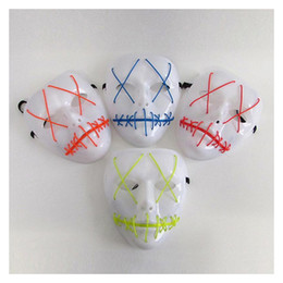 el light clothing 2019 - BRELONG LED glow mask Halloween mask ghost crack light EL line fashion clothing party ball mask Red Blue Green Pink Yell