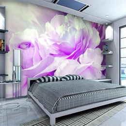 $enCountryForm.capitalKeyWord Australia - Non-woven Printing Wall Paper High Quality Oil Painting Purple Peony Wall Mural Custom Living Room Bedroom Wall Decor Wallpaper