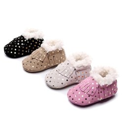 wholesale snow shoes NZ - Baby Boys Girls Tassel Anti-Slip Booties Snow Boots Baby Boots Winter Warm Soft Soled Newborn Infant Cotton Plush Shoes Hot s