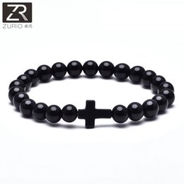 Discount turquoise crosses for bracelets - Dropshipping Glossy Stone Beaded Matte Natural Stone Cross Bracelet For Men Fashion Male Punk Bracelets & Bangles Jewelr