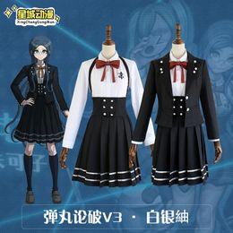 a8dfbcaff77 2019 New Anime Danganronpa V3 Shirogane Tsumugi Original Edition JK Uniform  Cosplay Costume Women Halloween Stocks Wig Hair