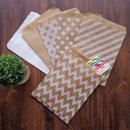 $enCountryForm.capitalKeyWord Australia - Chevron Stripes Dots Kraft Paper Bags Solid White Kraft Gift Bag Party Birthday Favor Handmade Packing Gift Paper Bags 200pcs