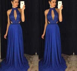 203d10a70642 2019 Halter Chiffon A Line Royal Blue Prom Dresses Long Keyhole Lace  Applique Top Floor Length Formal Party Evening Dresses BC1745