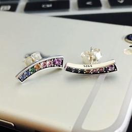 Pandora earrings online shopping - 925 sterling silver luxury designer jewelry stud earrings with CZ diamonds for Pandora Rainbow fashion charm stud earrings with original box