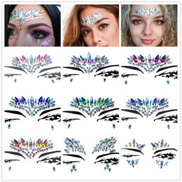 $enCountryForm.capitalKeyWord Australia - Diamond Sticker Bohemia Style Glitter Crystal Tattoo Stickers For Women Face Forehead Paster Wedding Party Decorations 9styles RRA1460