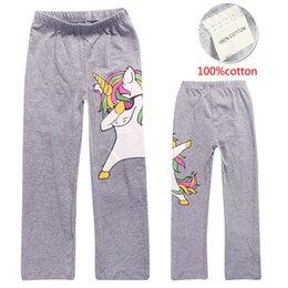 Wholesale Black Cotton Leggings Australia - 100% Cotton 4-12t Girls Leggings Elastic Trousers 2 Colors Unicorn Kids Pants Summer Cartoon Printed kids designer clothes DHL SS90