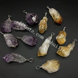 Charms Wire Wrapping Australia - 10Pcs Handmade 30-55mm Raw Stone Yellow Citrine Point Iron Wire Wrapped Pendant Natural Rough Amethyst Citrine Quartz Crystal Gemstone Charm