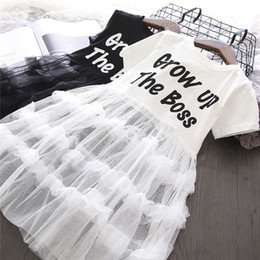 Princess T Shirts For Kids Australia - Spring Summer Baby Girls Dress Casual Simple Short-Sleeved T-shirt Splicing Cake Skirt Princess Dress Baby Girl Clothes Kids Dress For Girls