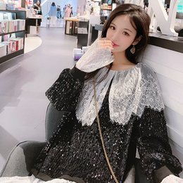 $enCountryForm.capitalKeyWord NZ - Love2019 Spring Clothes Pattern Lace Will A Doll Lead Split Joint Paillette Long T Pity Woman False Two Paper Jacket Suit-dress