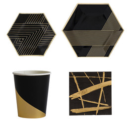 Black Blocks Australia - Black Series Gold Blocking Disposable Tableware Party Paper Plates Napkins Cups Birthday Party Wedding New Year Decor