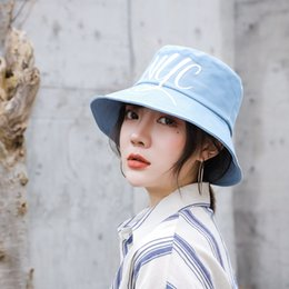 bucket hat hiphop Canada - Outdoor Women Collapsible Summer Fashion Brand Cotton Bucket Hat Sun Striped HipHop Fisherman Cap Letter NYC Cap For Women