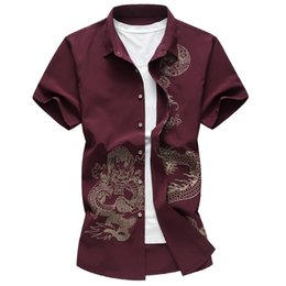 red wine shirts NZ - New Chinese style boys short sleeve shirt printed dragon shirt business casual wine red blue black men's shirt party wedding