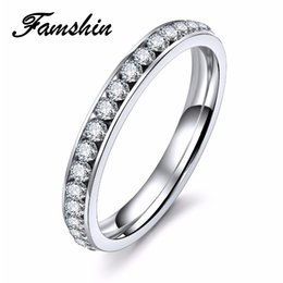 crystal surround NZ - Color Crystal Titanium Rings Stainless Steel Rings For Women 3mm Surround Wholesale Gifts