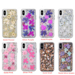 Wholesale Glitter Real Dry Flower Case For iPhone Xs Max XR X Plus s Samsung Galaxy S9 Defender Case Hard Back Mobile Phone Cover Shell