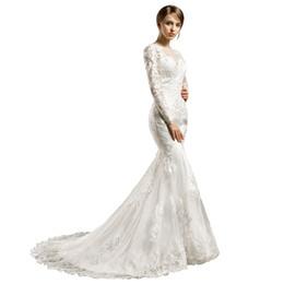 $enCountryForm.capitalKeyWord UK - Vintage Mermaid Wedding Dresses Long Sleeves Off Shoulder Full Lace Court Train White Bridal Gowns Wedding Gowns Custom Made DH172