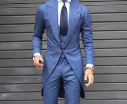 Suits Tails Australia - Customized classic long tail men's suit tuxedo groom wedding ball party dress 2 pieces (jacket + vest + pants)