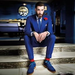 $enCountryForm.capitalKeyWord Australia - Royal Blue Men Suit for Wedding Slim Fit Groom Tuxedo 2019 Designer Groomsman Suits Notch Lapel Jacket+Pants Custom Made
