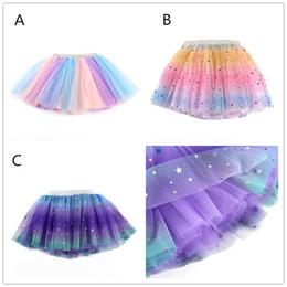 $enCountryForm.capitalKeyWord Australia - Kids Rainbow Lace TUTU skirt 3 colors blingbling stars pattern princess bubble skirt 2 sizes 0-7T for performance show party birthday