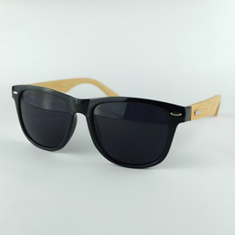 Discount bamboo wood sunglasses men wholesale - Wood Sunglasses Black Frame Bamboo Temples Hand Made Vintage Men Sun Glasses Traveller Style 4 Colors