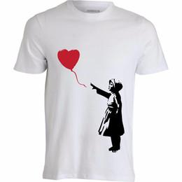 Balloon Cotton Australia - Girl with Balloon Banksy Art Graffiti Grey White Printed Cotton Men's T-Shirt top free shipping t-shirt