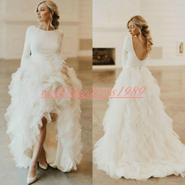 Hi lo nude black dress online shopping - Charming High Low Backless Plus Size Wedding Dresses Tiered Ruffle Garden Tulle Bride Gowns Robe de mariée Long Sleeve Bridal Dress Ball