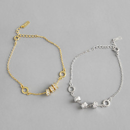 Wholesale New Simple Sterling Silver CZ Zircon Lucky Round Wheel Charms Bracelets For Women Female Wedding Crystal Link Chain Bracelet