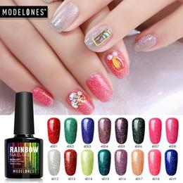 Discount rainbow nail polish - Modelones 10pcs lot Rainbow Holographic Gel Nail Polish 10ml Shimmer Neon Glitter UV Gel Varnish Semi Permanent Soak Off