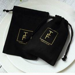 Jewelry Chic Australia - 100 Black Flannel Jewellry Gift Bags Personalized Logo Jewelry Packaging Chic Drawstring Pouches for Wedding Party Decoration