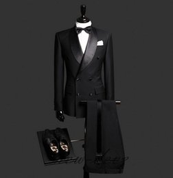 Navy Suits For Sale Australia - Fashion Color Black Double Breasted Two Pieces (Blazer+Pant) Groom Wear Slim Fit Formal Party Wedding Suits One Set For Sale