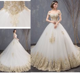 $enCountryForm.capitalKeyWord Australia - Amazing White And Gold Lace Wedding Dresses 2019 Off shoulder Chapel Train Tulle Applique Backless Cheap New Wedding Dress Bridal Gowns New