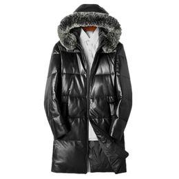 2e2842c2976 Genuine Leather Jacket 2018 Winter Jacket Men Real Fox Fur Collar Sheepskin  Coat for Men Warm Down Jackets Veste Homme MY1721