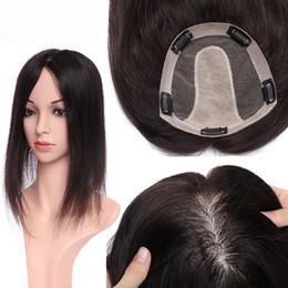 Human Topper cheveux pour les femmes en soie avec 5 clips de base dans les cheveux postiche humain Piece Couleur des cheveux Noir en Solde