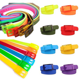 rubber plastic belt Canada - 2020Design luxury Belt Women Candy Color Plastic Belts Silicone Rubber Waistband New Buckle Pins Summer Skinny Waist Jeans Belt