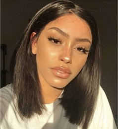 peruvian straight short wig NZ - Straight Lace Front Human Hair Wigs Long Short Bob Swiss Lace Frontal Wig 180 Density Peruvian Remy Hair Wig