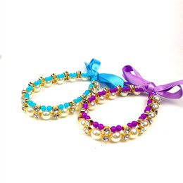 China Dog Jeweled Necklace Pet Puppy Dog Cat Pearl Jewelry Decorative Collar Pet Accessories Love Pendant For Small Dogs Cats Supplies suppliers